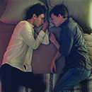"Xavier Dolan and Lucas Hedges in a scene from ""Boy Erased"""